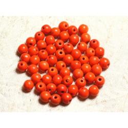 Fil 39cm 63pc env - Perles de Pierre Turquoise Synthèse Reconstituée Boules 6mm Orange