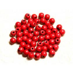 Fil 39cm 63pc env - Perles de Pierre Turquoise Synthèse Reconstituée Boules 6mm Rouge