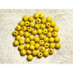 Fil 39cm 63pc env - Perles de Pierre Turquoise Synthèse Reconstituée Boules 6mm Jaune