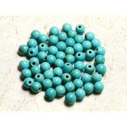 Fil 39cm 63pc env - Perles de Pierre Turquoise Synthèse Reconstituée Boules 6mm Bleu Turquoise
