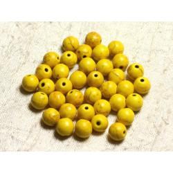 Fil 39cm 48pc env - Perles de Pierre Turquoise Synthèse Reconstituée Boules 8mm Jaune
