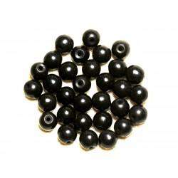 Fil 39cm 48pc env - Perles de Pierre Turquoise Synthèse Reconstituée Boules 8mm Noir