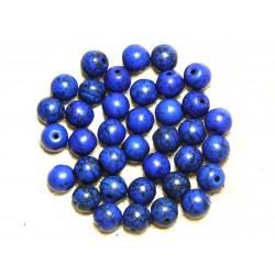 Fil 39cm 48pc env - Perles de Pierre Turquoise Synthèse Reconstituée Boules 8mm Bleu nuit