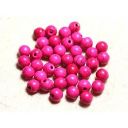 Fil 39cm 48pc env - Perles de Pierre Turquoise Synthèse Reconstituée Boules 8mm Rose Fluo