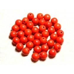 Fil 39cm 48pc env - Perles de Pierre Turquoise Synthèse Reconstituée Boules 8mm Orange