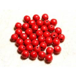 Fil 39cm 48pc env - Perles de Pierre Turquoise Synthèse Reconstituée Boules 8mm Rouge