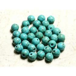 Fil 39cm 48pc env - Perles de Pierre Turquoise Synthèse Reconstituée Boules 8mm Bleu Turquoise