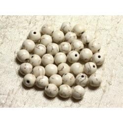 Fil 39cm 48pc env - Perles de Pierre Turquoise Synthèse Reconstituée Boules 8mm Blanc crème