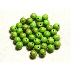 Fil 39cm 48pc env - Perles de Pierre Turquoise Synthèse Reconstituée Boules 8mm Vert