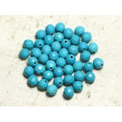 Fil 39cm 48pc env - Perles de Pierre Turquoise Synthèse Reconstituée Boules Facettées 8mm Bleu Turquoise