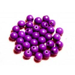 Fil 39cm 48pc env - Perles de Pierre Turquoise Synthèse Reconstituée Boules 8mm Violet