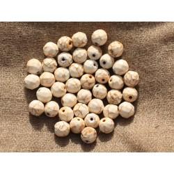 Fil 39cm 48pc env - Perles de Pierre Turquoise Synthèse Reconstituée Boules Facettées 8mm Blanc