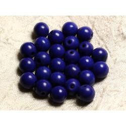 Fil 39cm 37pc env - Perles de Pierre Turquoise Synthèse Reconstituée Boules 10mm Bleu nuit