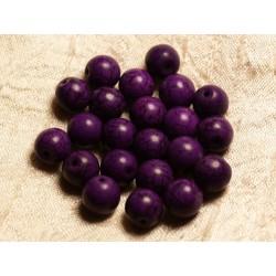 Fil 39cm 37pc env - Perles de Pierre Turquoise Synthèse Reconstituée Boules 10mm Violet