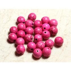 Fil 39cm 37pc env - Perles de Pierre Turquoise Synthèse Reconstituée Boules 10mm Rose Fluo
