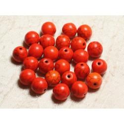 Fil 39cm 37pc env - Perles de Pierre Turquoise Synthèse Reconstituée Boules 10mm Orange