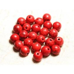 Fil 39cm 37pc env - Perles de Pierre Turquoise Synthèse Reconstituée Boules 10mm Rouge