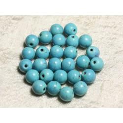 Fil 39cm 37pc env - Perles de Pierre Turquoise Synthèse Reconstituée Boules 10mm Bleu Turquoise