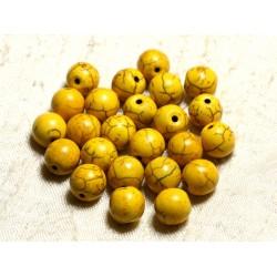 Fil 39cm 37pc env - Perles de Pierre Turquoise Synthèse Reconstituée Boules 10mm Jaune