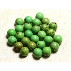 Fil 39cm 37pc env - Perles de Pierre Turquoise Synthèse Reconstituée Boules 10mm Vert