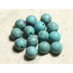Fil 39cm 31pc env - Perles de Pierre Turquoise Synthèse Reconstituée Boules 12mm Bleu Turquoise