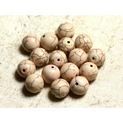 Fil 39cm 31pc env - Perles de Pierre Turquoise Synthèse Reconstituée Boules 12mm Blanc crème