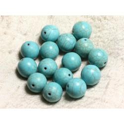 Fil 39cm 26pc env - Perles de Pierre Turquoise Synthèse Reconstituée Boules 14mm Bleu Turquoise