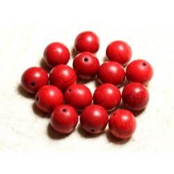 Fil 39cm 26pc env - Perles de Pierre Turquoise Synthèse Reconstituée Boules 14mm Rouge