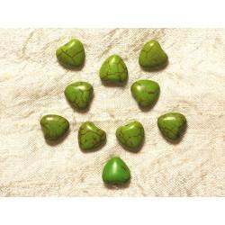 Fil 39cm 34pc env - Perles de Pierre Turquoise Synthèse Reconstituée Coeurs 11mm Vert