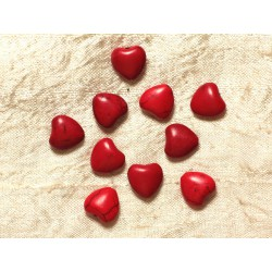 Fil 39cm 34pc env - Perles de Pierre Turquoise Synthèse Reconstituée Coeurs 11mm Rouge