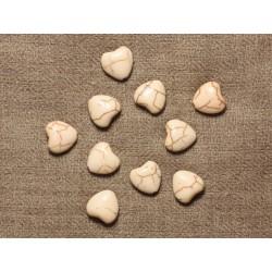 Fil 39cm 34pc env - Perles de Pierre Turquoise Synthèse Reconstituée Coeurs 11mm Blanc crème