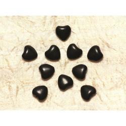 Fil 39cm 34pc env - Perles de Pierre Turquoise Synthèse Reconstituée Coeurs 11mm Noir