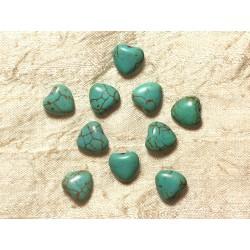 Fil 39cm 34pc env - Perles de Pierre Turquoise Synthèse Reconstituée Coeurs 11mm Bleu Turquoise