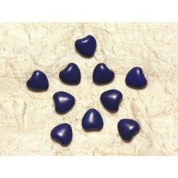 Fil 39cm 34pc env - Perles de Pierre Turquoise Synthèse Reconstituée Coeurs 11mm Bleu nuit