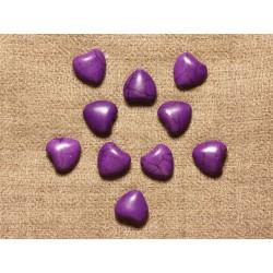 Fil 39cm 34pc env - Perles de Pierre Turquoise Synthèse Reconstituée Coeurs 11mm Violet
