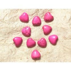 Fil 39cm 34pc env - Perles de Pierre Turquoise Synthèse Reconstituée Coeurs 11mm Rose Fluo