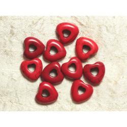 Fil 39cm 25pc env - Perles de Pierre Turquoise Synthèse Reconstituée Coeurs Pourtours 15mm Rouge