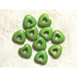 Fil 39cm 25pc env - Perles de Pierre Turquoise Synthèse Reconstituée Coeurs Pourtours 15mm Vert