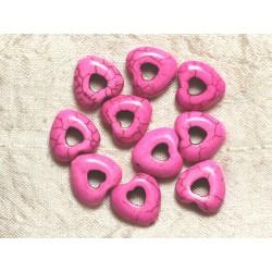 Fil 39cm 25pc env - Perles de Pierre Turquoise Synthèse Reconstituée Coeurs Pourtours 15mm Rose Fluo