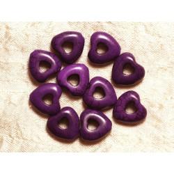 Fil 39cm 25pc env - Perles de Pierre Turquoise Synthèse Reconstituée Coeurs Pourtours 15mm Violet