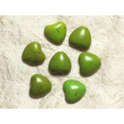 Fil 39cm 25pc env - Perles de Pierre Turquoise Synthèse Reconstituée Coeurs 15mm Vert