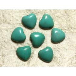 Fil 39cm 25pc env - Perles de Pierre Turquoise Synthèse Reconstituée Coeurs 15mm Bleu Turquoise