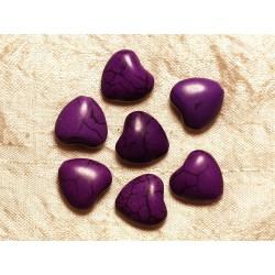 Fil 39cm 25pc env - Perles de Pierre Turquoise Synthèse Reconstituée Coeurs 15mm Violet