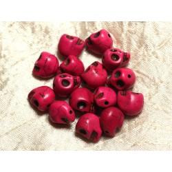 Fil 39cm 31pc env - Perles de Pierre Turquoise Synthèse Cranes tete de mort 12x10mm Rose Fuchsia