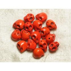 Fil 39cm 31pc env - Perles de Pierre Turquoise Synthèse Cranes tete de mort 12x10mm Orange