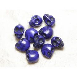Fil 39cm 31pc env - Perles de Pierre Turquoise Synthèse Cranes tete de mort 12x10mm Bleu nuit