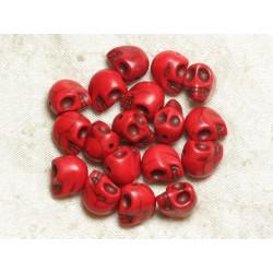 Fil 39cm 31pc env - Perles de Pierre Turquoise Synthèse Cranes tete de mort 12x10mm Rouge