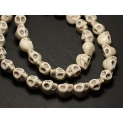 Fil 39cm 31pc env - Perles de Pierre Turquoise Synthèse Cranes tete de mort 12x10mm Blanc crème