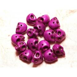 Fil 39cm 36pc env - Perles de Pierre Turquoise Synthèse Cranes tete de mort 14x10mm Violet Rose