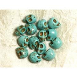 Fil 39cm 31pc env - Perles de Pierre Turquoise Synthèse Cranes tete de mort 12x10mm Bleu turquoise